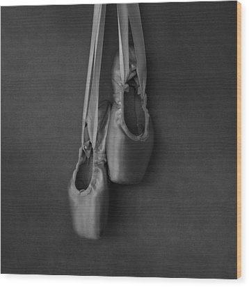 Wood Print featuring the photograph Pointe Shoes Bw by Laura Fasulo