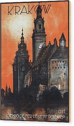 Poland Krakow Vintage Travel Poster Restored Wood Print by Carsten Reisinger