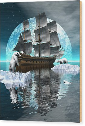 Polar Expedition Wood Print by Claude McCoy