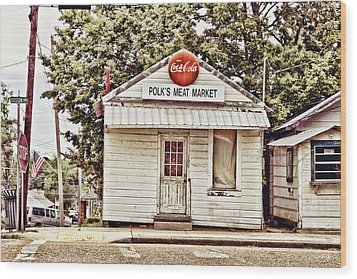 Polk's Meat Market Wood Print by Scott Pellegrin