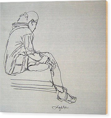 Wood Print featuring the drawing Pondering by Lee Nixon