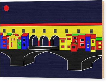 Ponte Vecchio Inspirations Wood Print by Asbjorn Lonvig