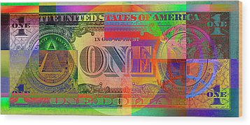 Pop-art Colorized One U. S. Dollar Bill Reverse Wood Print by Serge Averbukh