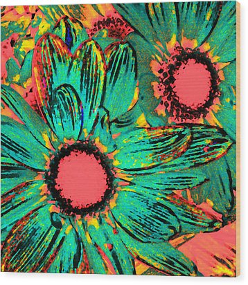Pop Art Daisies 3 Wood Print by Amy Vangsgard
