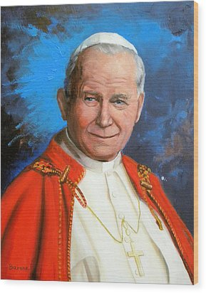Pope John Paul II Wood Print by Richard Barone