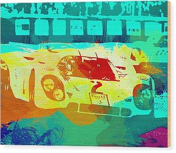 Porsche 917 Watercolor Wood Print by Naxart Studio