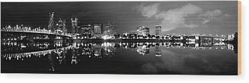 Portland Skyline Black And White Wood Print