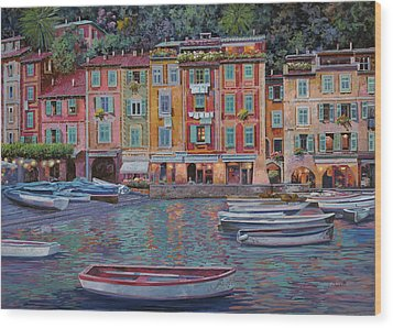 Portofino Al Crepuscolo Wood Print by Guido Borelli