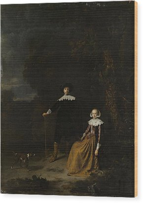 Portrait Of A Couple In A Landscape Wood Print by Gerard Dou