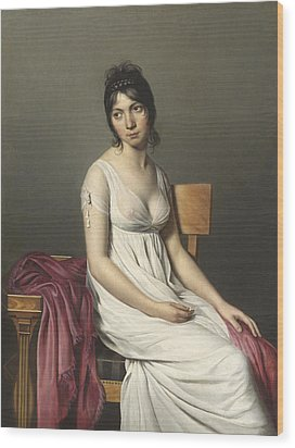 Portrait Of A Young Woman In White Wood Print