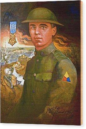 Portrait Of Corporal Roberts Wood Print by Dean Gleisberg
