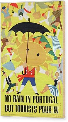 Portugal Vintage Travel Poster Restored Wood Print by Carsten Reisinger
