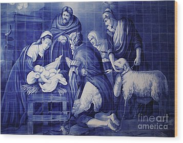 Portuguese Azulejo Tiles Wood Print by Gaspar Avila