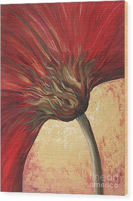 Power Of Red Wood Print by Nadine Rippelmeyer