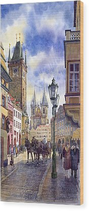 Prague Old Town Square 01 Wood Print by Yuriy  Shevchuk