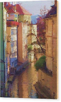 Praha Canal Wood Print by Shawn Wallwork
