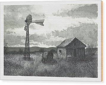 Prairie Farm Wood Print by Jonathan Baldock