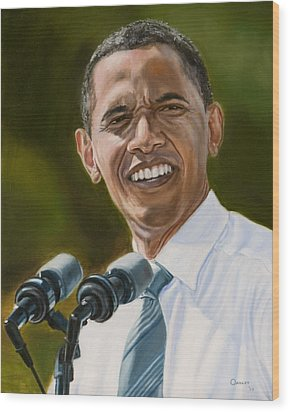 President Barack Obama Wood Print by Christopher Oakley