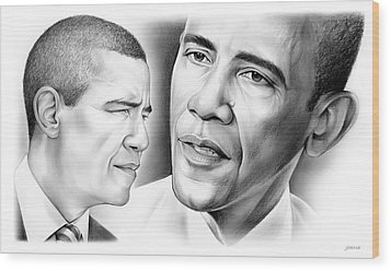 President Barack Obama Wood Print by Greg Joens