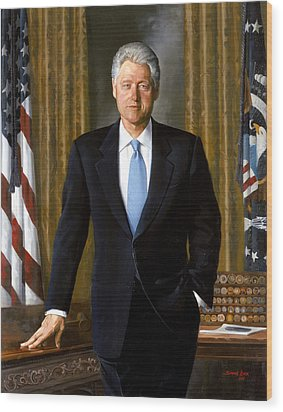 President Bill Clinton Wood Print by War Is Hell Store