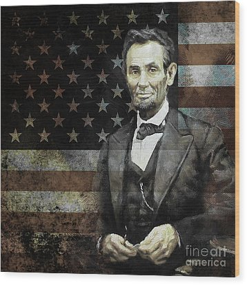 President Lincoln  Wood Print by Gull G
