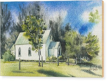 Promised Land Church Wood Print
