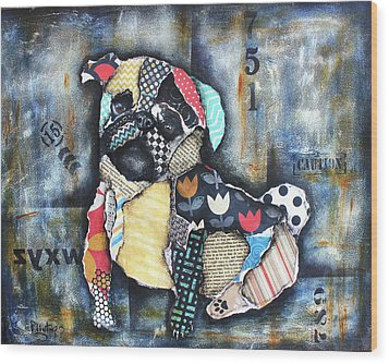 Pug Wood Print by Patricia Lintner