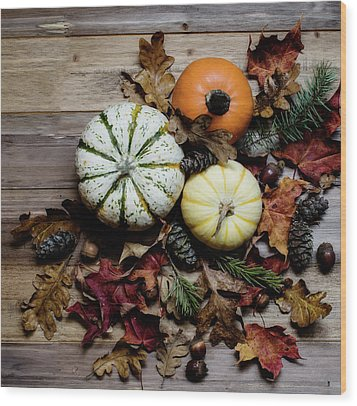 Wood Print featuring the photograph Pumpkins by Rebecca Cozart