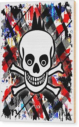 Punk Rock Skull Wood Print by Roseanne Jones