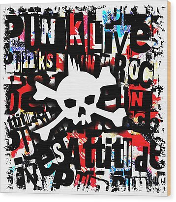 Punk Skull Wood Print by Roseanne Jones