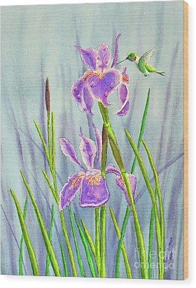Purple Dutch Iris And Hummer Wood Print by Kathryn Duncan