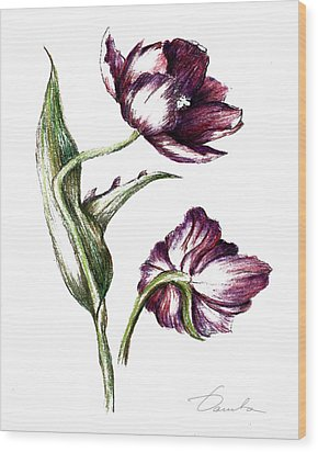 Purple Flower Wood Print by Danuta Bennett