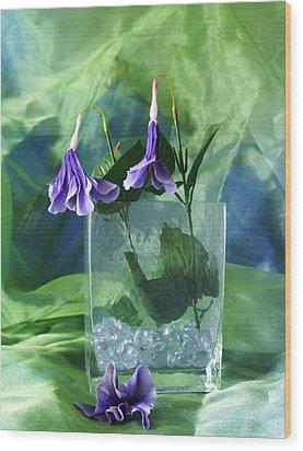 Purple Flowers Wood Print by Florene Welebny