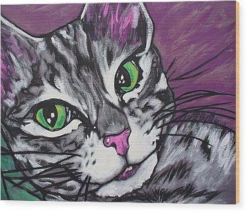 Purple Tabby Wood Print by Sarah Crumpler