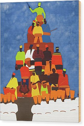 Pyramid Of African Drummers Wood Print