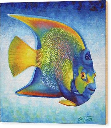 Queen Angelfish Wood Print by Nancy Tilles