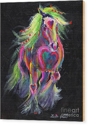 Queen Of Hearts Pony  Wood Print by Louise Green