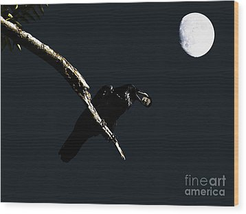Quoth The Raven Nevermore Wood Print by Wingsdomain Art and Photography