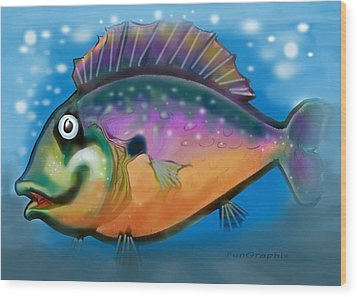 Rainbow Fish Wood Print by Kevin Middleton