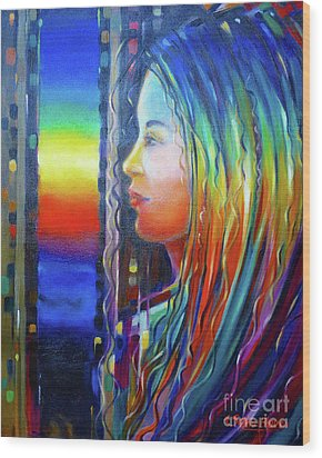 Rainbow Girl 241008 Wood Print