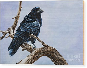Wood Print featuring the painting Raven by Igor Postash