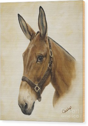 Ready Mule Wood Print by Cathy Cleveland