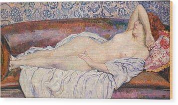 Reclining Nude Wood Print by Theo van Rysselberghe