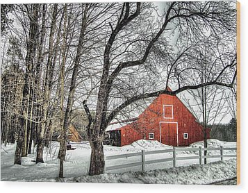 Red And White Wood Print by Betsy Zimmerli