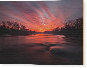 Wood Print featuring the photograph Red Dusk by Davorin Mance