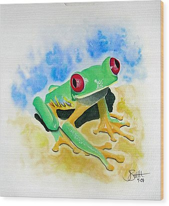 Red Eyed Tree Frog Wood Print by Jimmy Smith