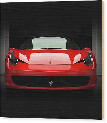 Red Ferrari 458 Wood Print