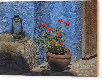 Wood Print featuring the photograph Red Geranium Near A Blue Wall by Patricia Hofmeester