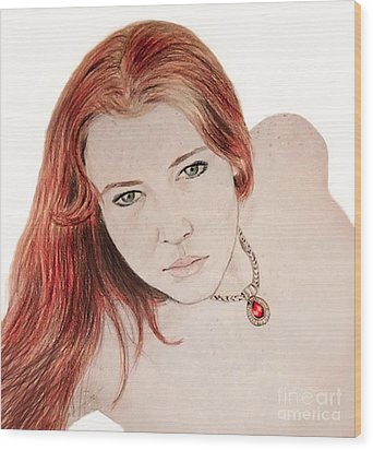 Red Hair And Freckled Beauty Wood Print by Jim Fitzpatrick