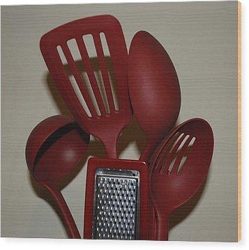 Red Kitchen Utencils Wood Print by Rob Hans